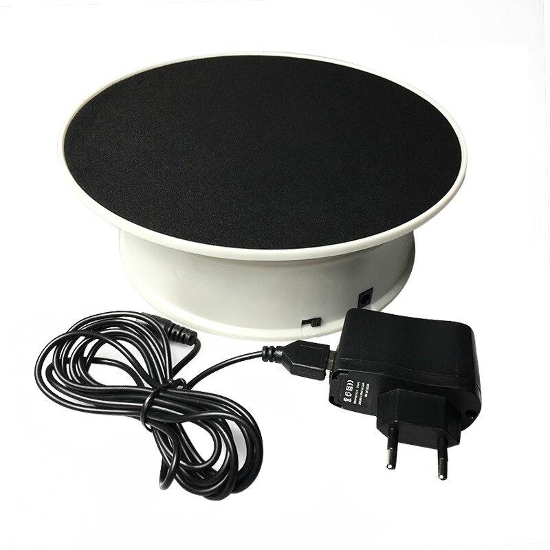 20 cm 360 grado eléctrico mesa giratoria soporte de exhibición para fotografía carga máxima 1,5 kg tiro vídeo de apoyos de la plataforma giratoria de la batería