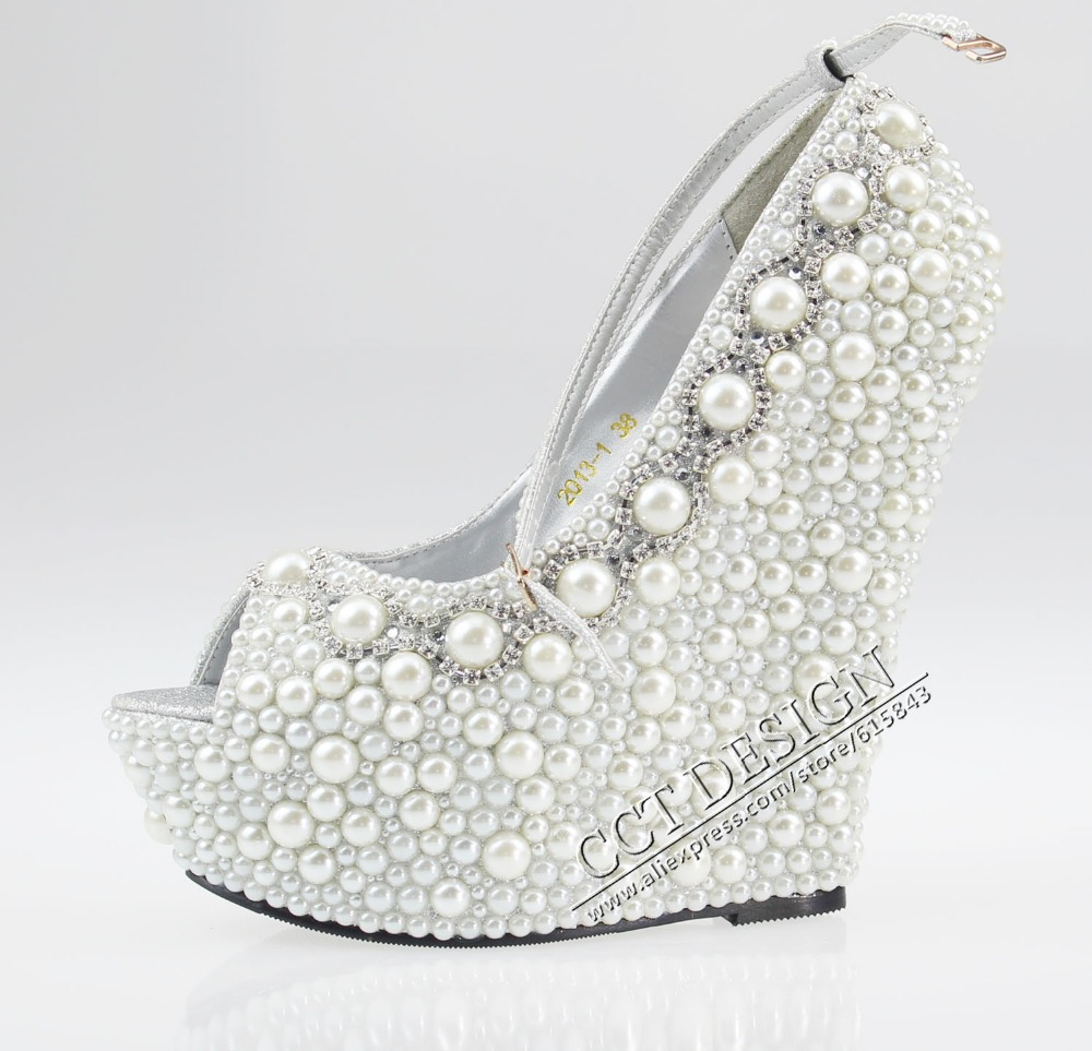 Women White Black Ivory Pearl Rhinestone Wedges 14cm Peep Toe ...