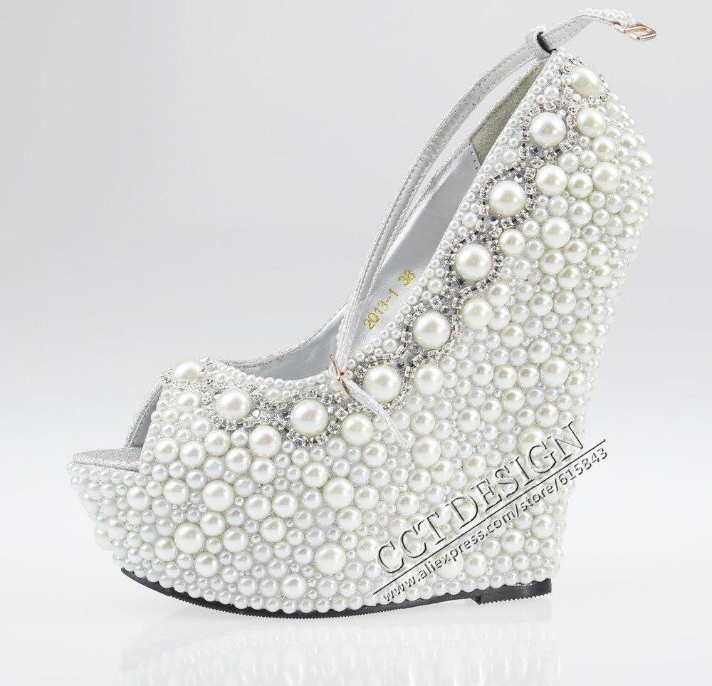 Black dress sandals for wedding - Women White Black Ivory Pearl Rhinestone Wedges 14cm Peep Toe Wedding Bridal High Heels Ankle Strap Pumps Shoes Free Shipping
