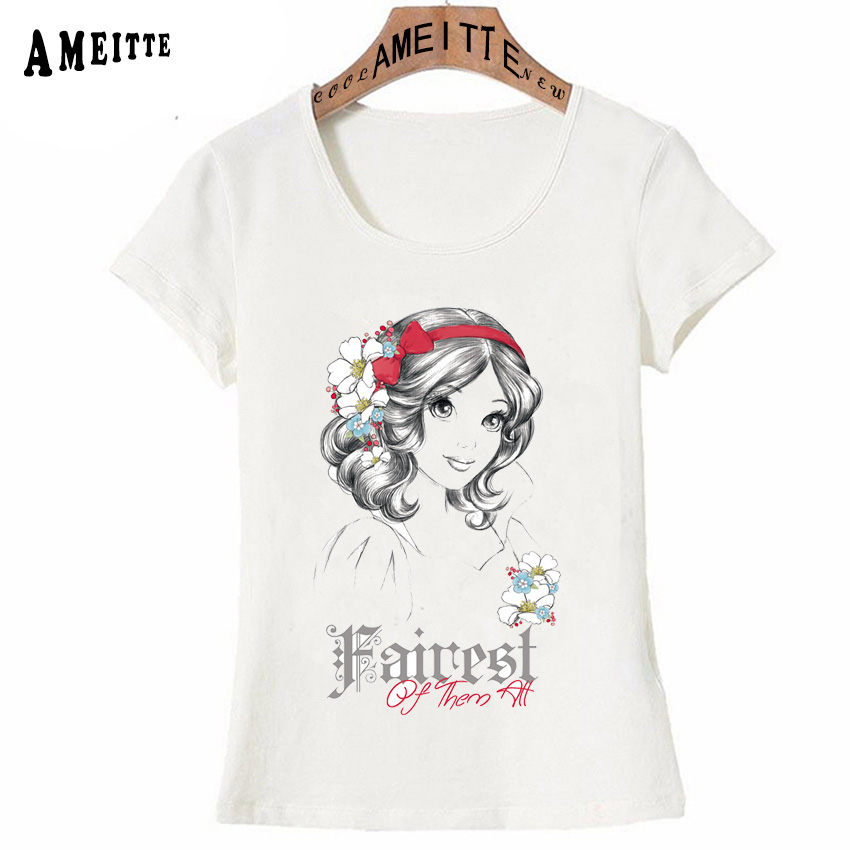 Fairest Of Them All Princess T Shirt Summer Vintage Women T Shirt Girl Casual Tops -1519