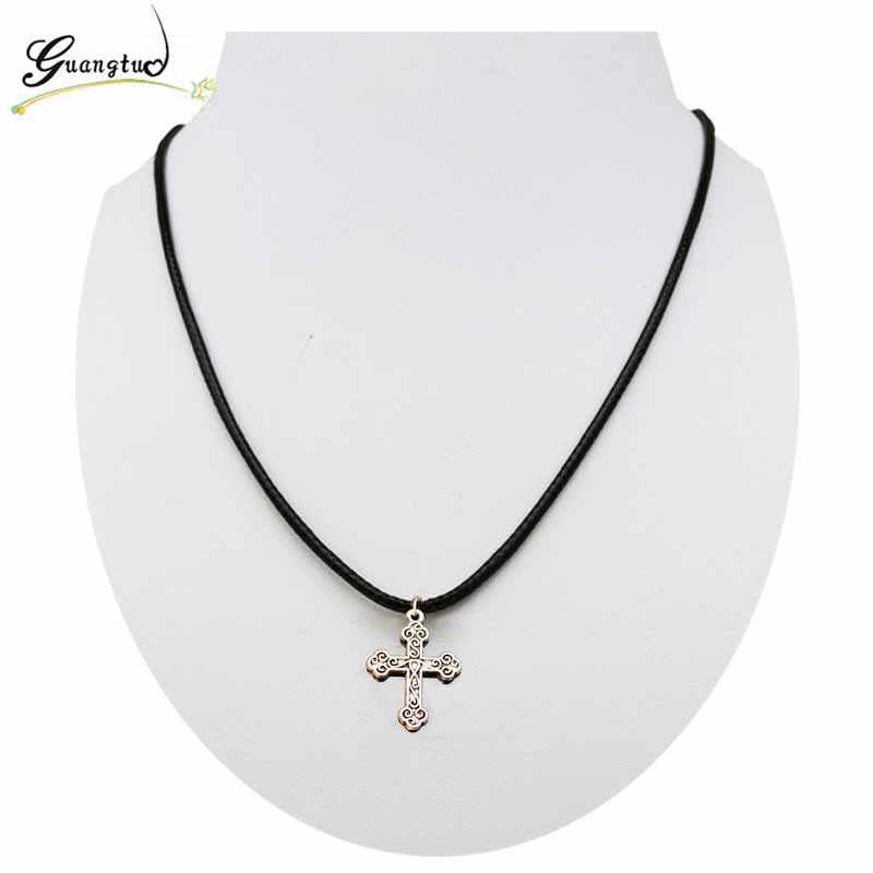Vintage Silver Plated Cross Shape Pendant Necklace Imitation Leather Rope Chain For Men Women Fashion Jewelry Collares Bijoux