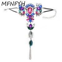 MFNFYH 2017 Charm Grote Crystal Flower Zilveren Enkelband Lange Voet Ketting Boho Stijl Maxi Enkelbanden voor Vrouwen Sieraden Halhal
