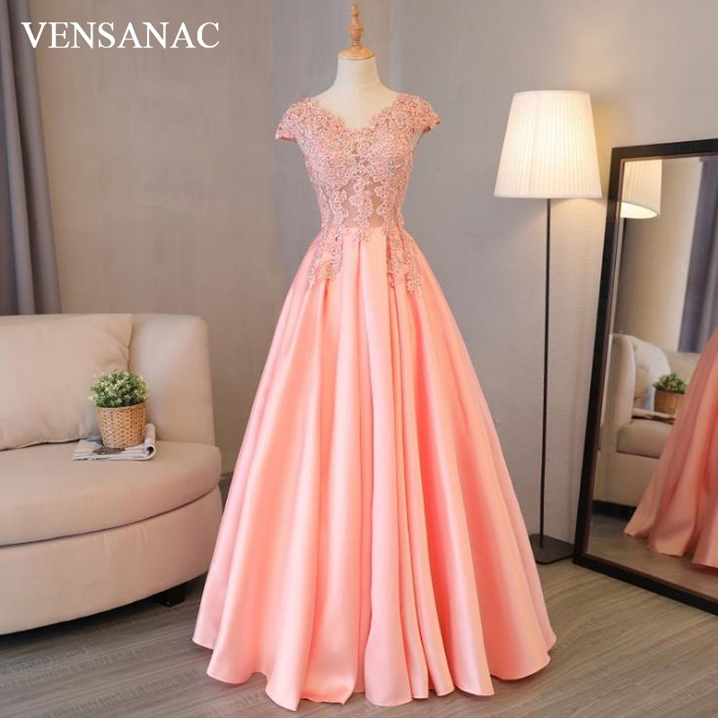 VENSANAC 2018 V Neck A Line Beadings Long Evening Dresses Elegant Short Sleeve Party Lace Embroidery Prom Gowns