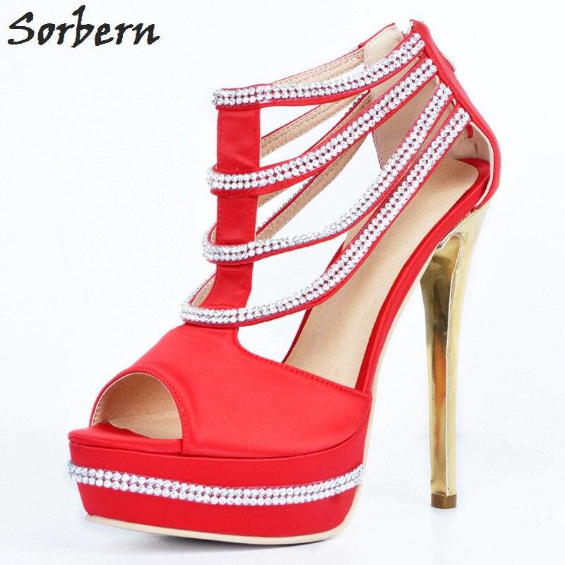 Di Più Alta Zapatos Pompe Scarpe Mujer Modo Peep Delle Cutsom Donne Strass Formato Sorbern Nero Signore Del Partito Color Raso Tallone rosso Cristallo Il Toe vm0nw8N
