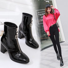 2019 marke Zipper Stiefel Frau Front Big Zipper Öffnen Botas Mid-Kalb Botines Winter Dicke High Heels Patent Leder martin Booties(China)