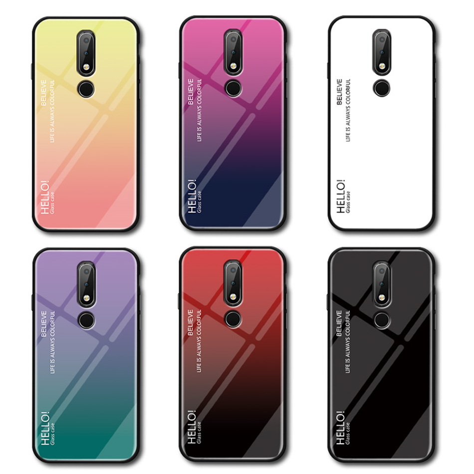 Gradient Tempered <font><b>Glass</b></font> <font><b>Case</b></font> for <font><b>Nokia</b></font> 9 Pureview 7 3.1 <font><b>6.1</b></font> 7.1 8.1 Plus <font><b>Case</b></font> Aurora Twilight Color Cover for <font><b>Nokia</b></font> 8 Sirocco image