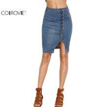 COLROVIE 2016 Blue Asymmetric Button Front Slit Pencil Denim Skirt Women Summer Style High Waist Sheath Skirt