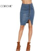 COLROVE 2016 Blue Asymmetric Button Front Slit Pencil Denim Skirt Women Summer Style High Waist Sheath