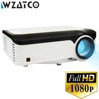WZATCO T10 Настоящее FULL HD 1080 P Портативный светодиодный проектор 1920x1080 ЖК дисплей 200 дюйма Android 7,1 дополнительно игра для домашнего кинотеатра фил