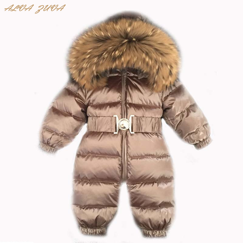 ae8c3e14f2b4 Newborn Winter Jumpsuit Boys Girls Natural Fur Rompers Infant Baby ...