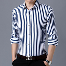 Loldeal Big Large Size 4XL Mens Business Casual Long Sleeved Shirt 2018 Classic Striped Male Social Dress Shirts Blue red