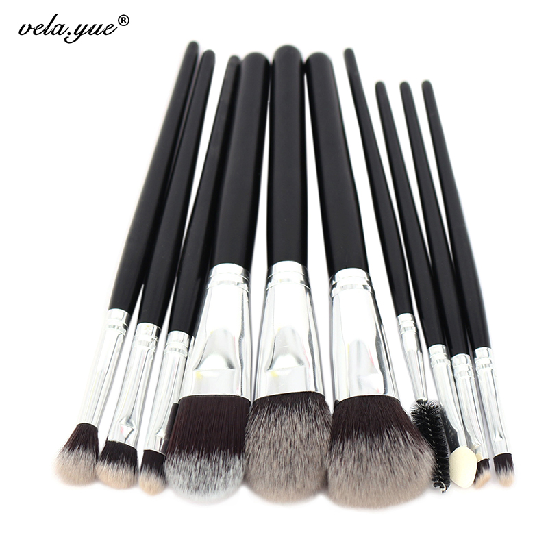 цена на 10pcs Professional Makeup Brushes Set Powder Foundation Blusher Eye Shadow Liner Brow Lash Makeup Tools Kit for Beginners