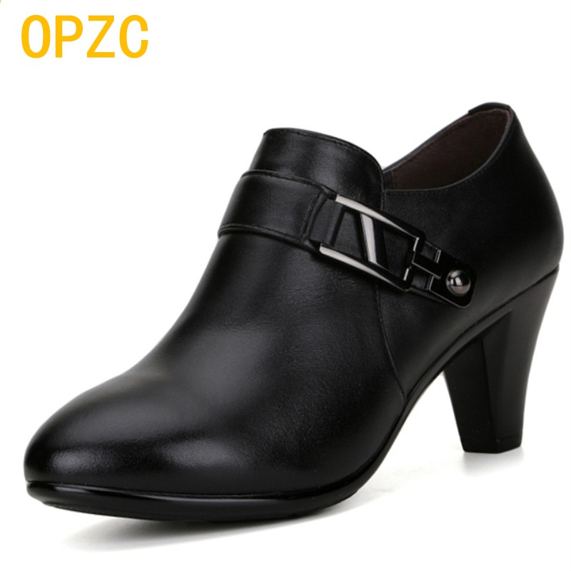 OPZC 2018 new spring genuine leather shoes, women elegant spike heels, office lady Business dress, fashion big size women shoes aiyuqi big size 41 42 43 red women shoes platform 2018 new fashion genuine leather business dress women s shoes for wedgies