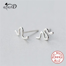 Romad 925 Sterling Silver Womens Jewelry Earring for Women Fashion Cute Tiny 0.6cmX1cm Snake Stud Gift For Lady