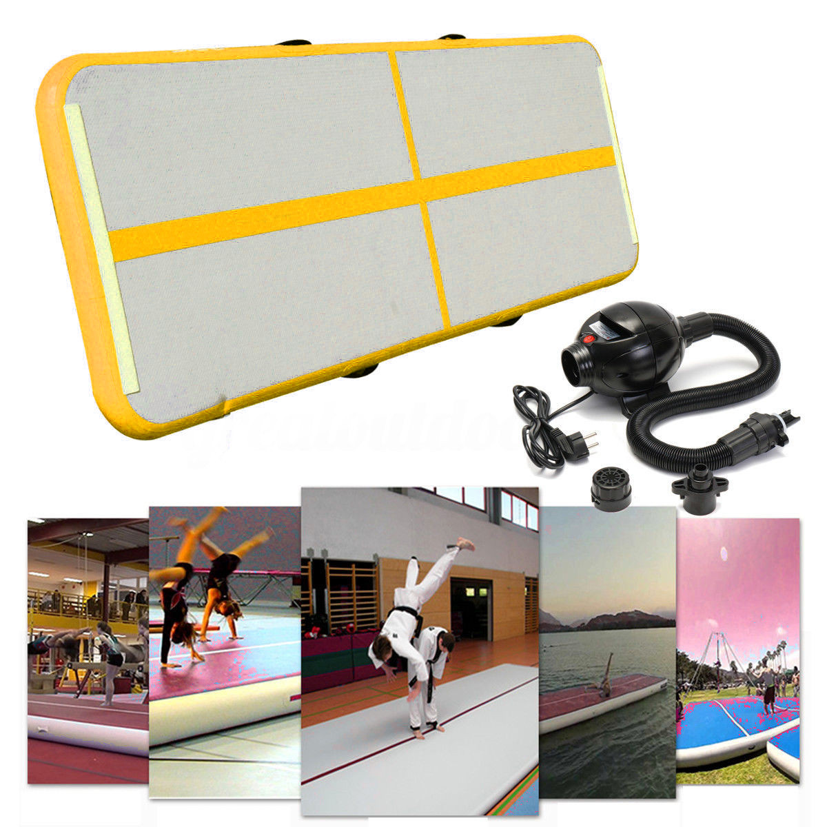 Yellow Gofun AirTrack 90x300x10cm Air Mats Sport Exercise Pad Inflatable Tumbling Track Gymnastics Training Pad With Air Pump