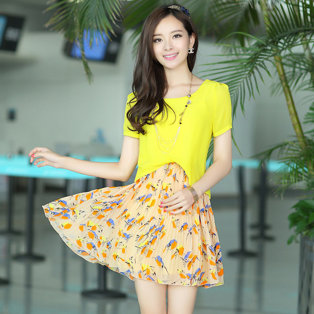 Free shipping summer women's pleated patchwork o-neck chiffon one-piece dress new fashion 2013  for women1376