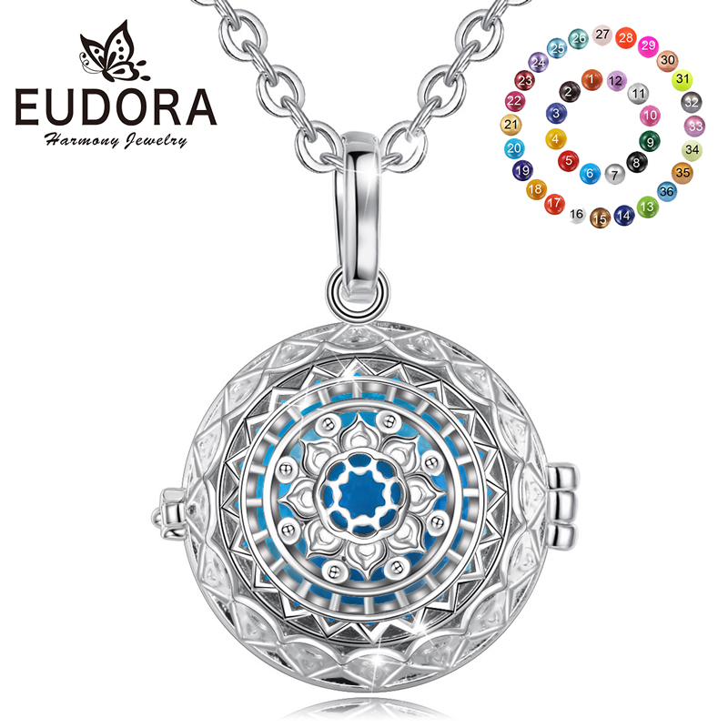 EUDORA Harmony Ball Creative Holy Bubble Music Chime Pendant Gift for Women Baby Shower Mom to be 45 inches Pregnancy Necklace