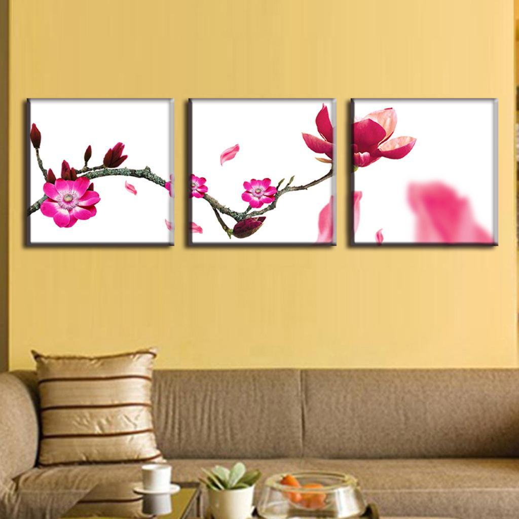3 Pcs/set Rose Red Flower Branches Painting Prints On Canvas Modern ...