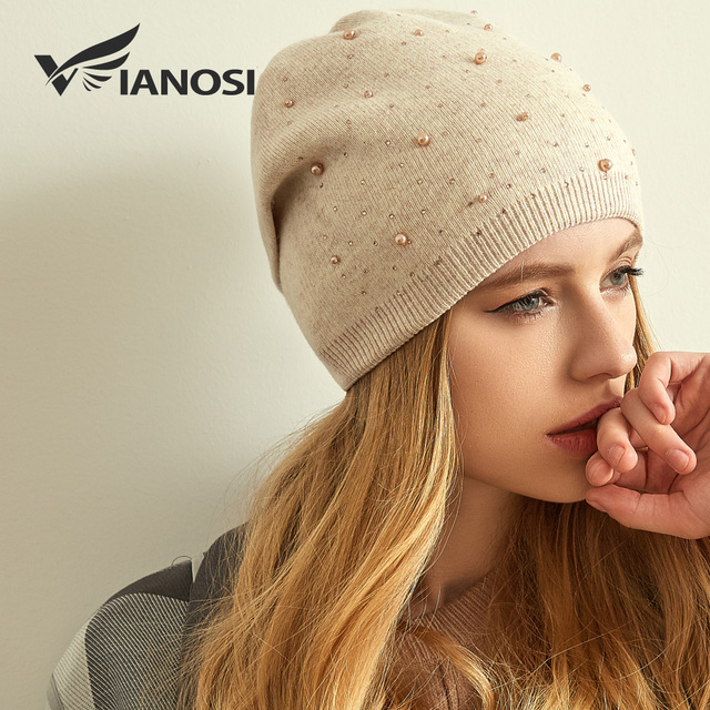 VIANOSI Winter Wool Hats for Women Warm Beanies Hat New Fashion Design Caps With Pearl Brand Touca