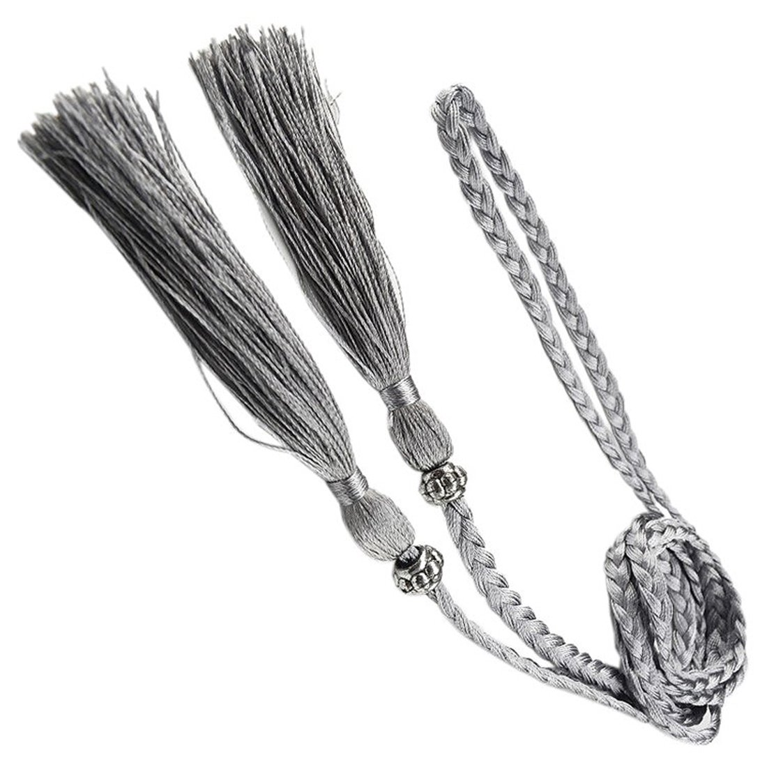 Verwong Woven Tassel Belt Knot Decorated Waist Chain Waist Rope Silver
