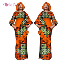 купить 2019 African Dresses for Women Women Party Dress African Dashiki Top and Skirt Set and Head wrap 3 Pieces Kanga Clothing WY1633 по цене 3250.05 рублей