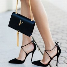 2016 New Summer Style women's Lace Up high heels Pointed Toe Bandage Stiletto sandals celebrity ladies shoes Pumps Black 35-40