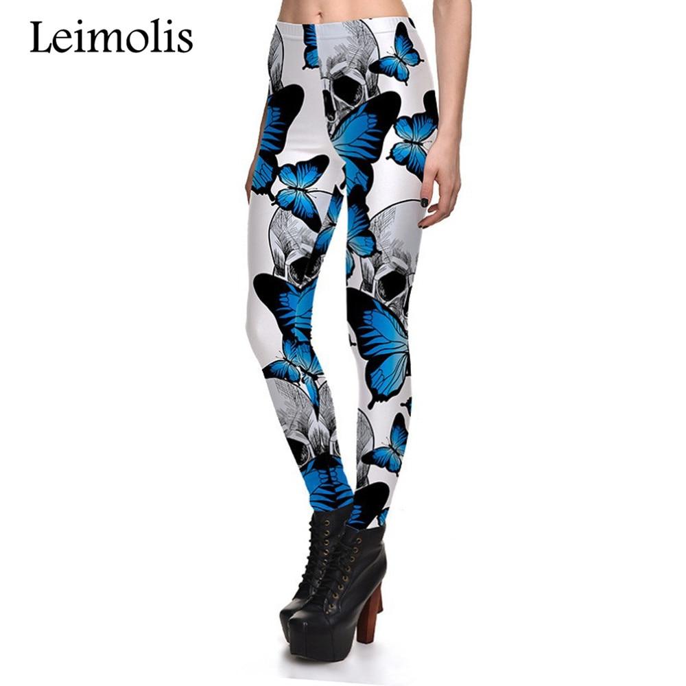 Leimolis 3D printed fitness push up workout leggings women gothic blue butterfly skull plus size High Waist punk rock pants