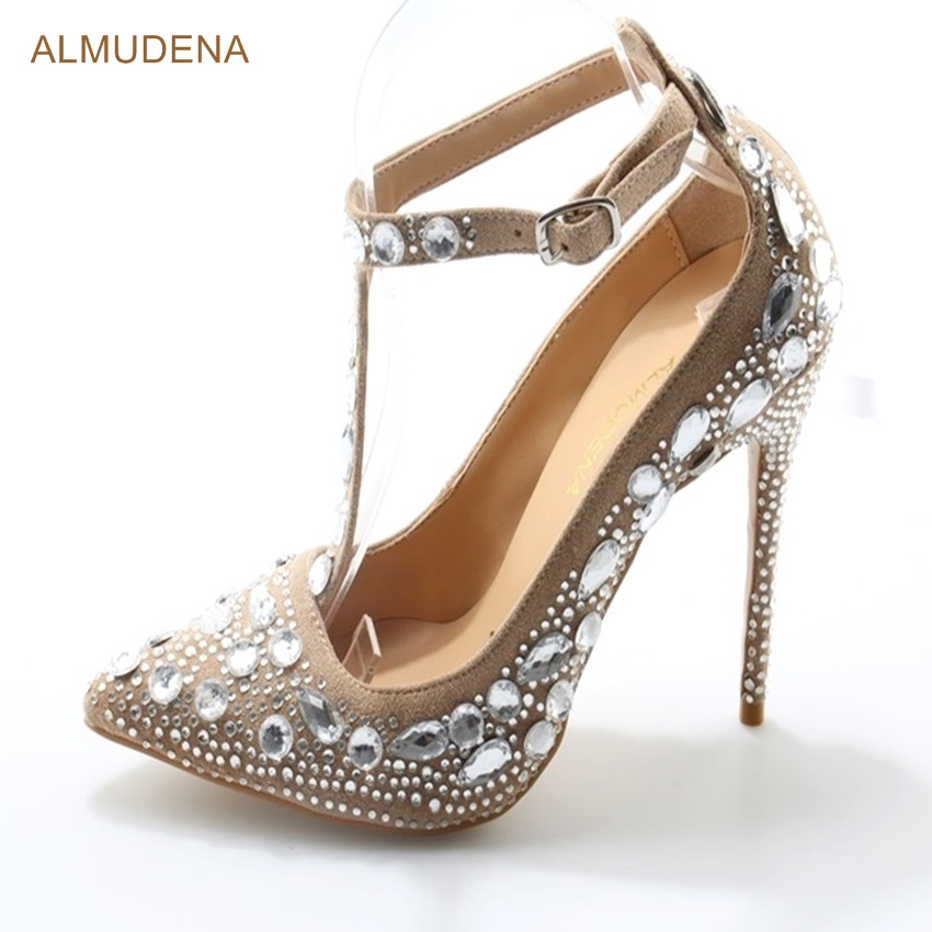 ALMUDENA Bling Bling Crystal Wedding Shoes Beige Pointed Toe Beaded Party Shoes T Strap Thin High Heel Jewelry Pumps US10 bling bling crystal flower thin high shoes glittering wedding banquet pumps princess glass slipper