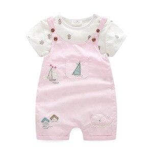 Image 1 - 2019 Leuke nieuwe moeder baby meisje kleding katoen roze kids grils romper 2 stuks romper + broek kinderen uitloper sets