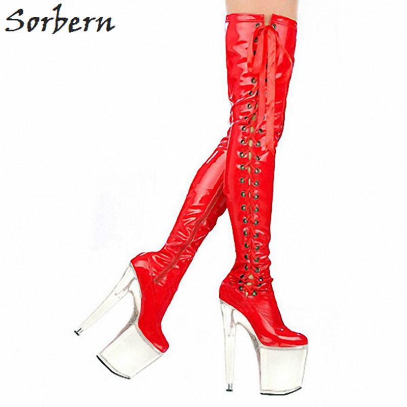Sorbern Red Shiny Long Boots Women Lace-Up Side Clear High Heels 20Cm/10Cm Heeled Boots Customized Pink Boots For Women stunning high slit lace up red maxi skirt for women