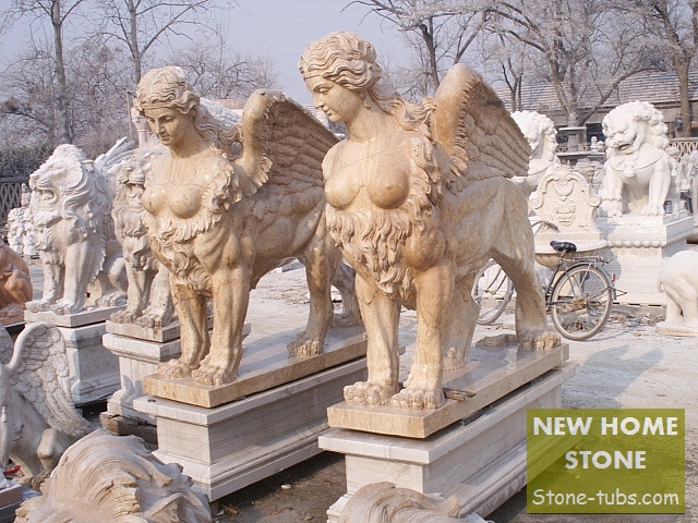 Statue Sphinx Marble Modern Style Women Body Combine Lions Body With  Angelu0027s Wings Stone Sculptures Sphinx ...