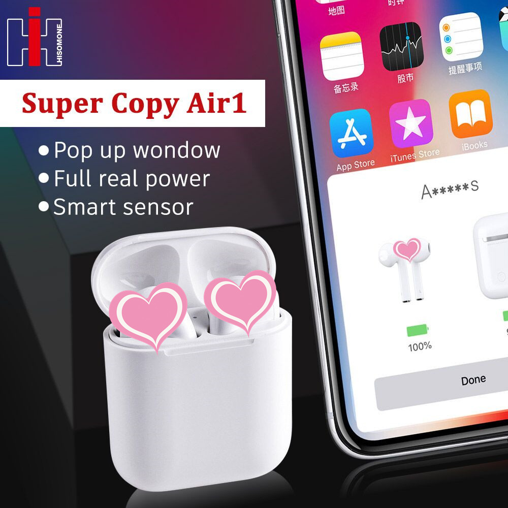 Super Copy Air 1 Wireless Headphones 1:1 Replica Smart Sensor Pop Up Real Power Call Siri Bluetooth Headset PK I100 I60 I30 Tws