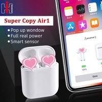 Super Copy Air 1 Wireless Headphones 1:1 Replica Smart Sensor Pop up Real Power Call Siri Bluetooth Headset PK i100 i60 i30 tws