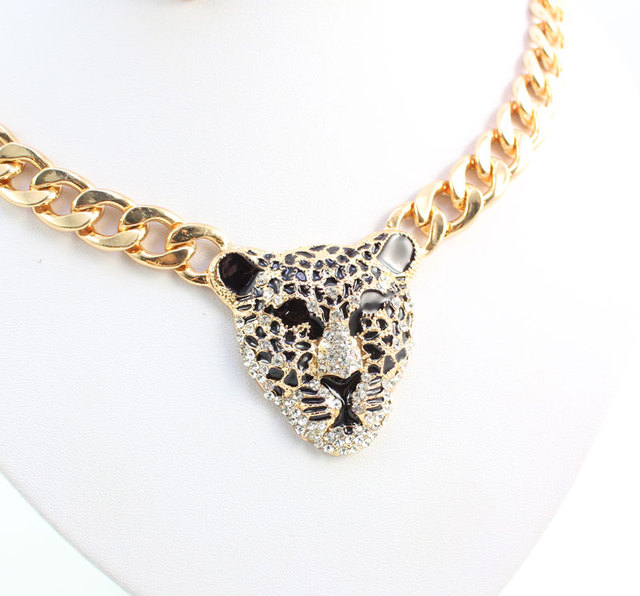 Фото модный браслет с головой леопарда серьги ожерелье кольцо набор