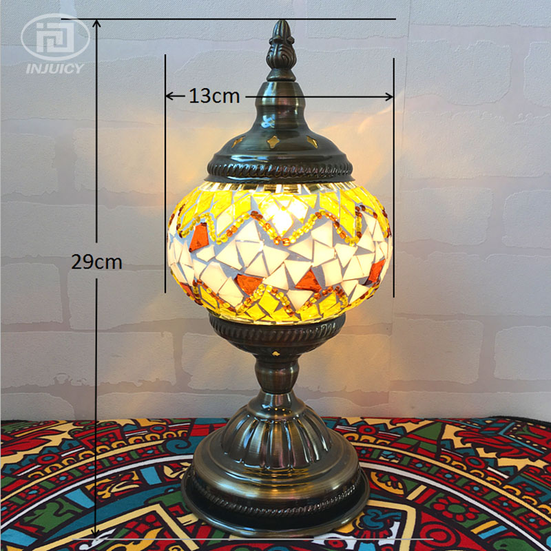 Vintage Bohemia Style Turkish Romantic Desk Lamp Mediterranean Handcrafted Glass Table Lamp For Bedroom Cafe Bar Store Bedside