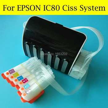 1 Set IC80 Ciss System For Epson EP-707A EP-777A EP-808AW EP-807AB EP-807AR EP-807AW EP-907F EP-977A3 Printer With ARC Chip фото