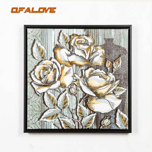 QFALOVE Classical Flowers Canvas Painting Framed Advanced Black PS ...