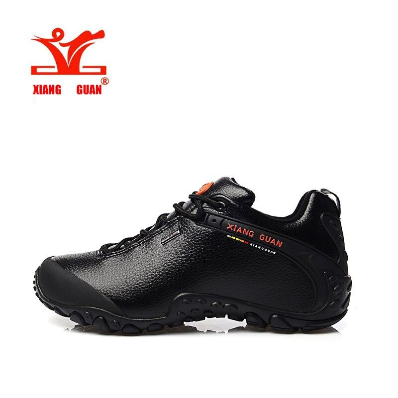 ФОТО XIANGGUAN Leather Waterproof Shoes Hiking Mountain Men Sneaker Outdoor Skid Resistant Brown Black Trekking Trainers Women Unisex