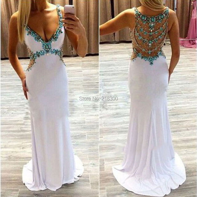 White Turquoise Prom Dresses Cheap