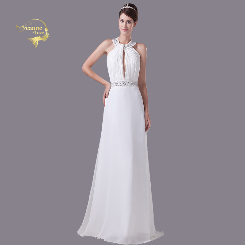 Vestido De Noiva 2019 Simple Halter Cheap Chiffon White
