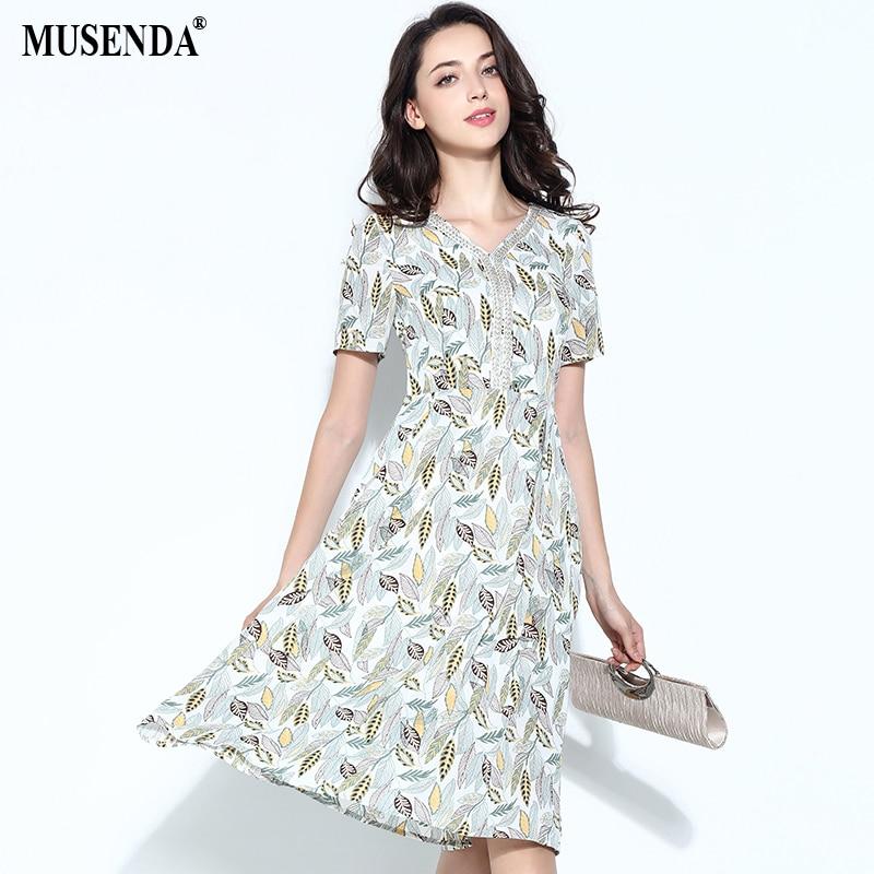 US $20.99 |MUSENDA Plus Size Women Off white Chiffon Print V Neck Short  Sleeve Tunic Midi Dress 2018 Summer Sundress Ladies Casual Dresses-in  Dresses ...
