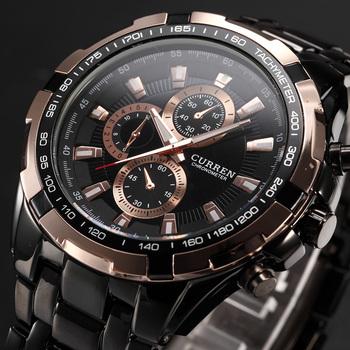 Nowe SALE CURREN zegarki męskie kwarcowe top marki analogowe wojskowe męskie zegarki męskie sporty Army Watch wodoodporny Relogio męski tanie i dobre opinie Quartz Wristwatches 3Bar Okrągłe 8023 Folding Clasp with Safety Fashion Casual 46mm Stopu 23inch Mężczyzn 22mm Szklane