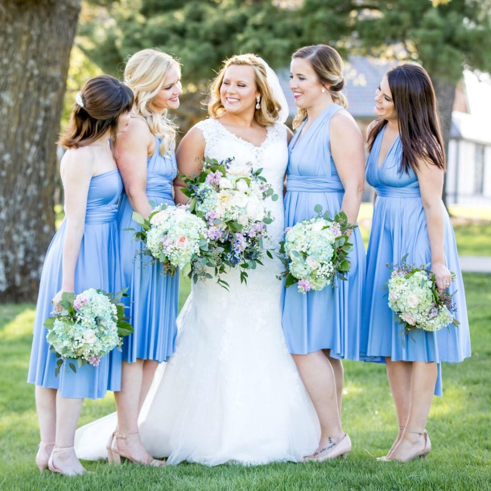 2019 Periwinkle Short Straight Hem Infinity   Dress   Multiway   Bridesmaid     Dress   Convertible Wedding Sorority Wrap   Dress