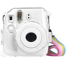 Powstro przypadki dla Fujifilm Instax Mini 9 ochrona aparatu przypadku przezroczyste plastikowe pokrywa z paskiem dla Fuji Mini 8/8 torba