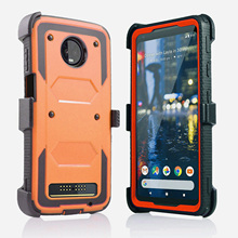 For Motorola Moto Z4 Play Heavy Duty Hybrid Armor Case Shockproof Impact Protective Belt Clip Holster Kickstand Cover