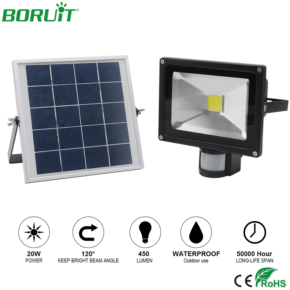 BORUiT 20W LED Solar Lamp Motion Sensor Garden Path Lights Waterproof Outdoor Street Light Solar Power Flood Spot Light Lamp