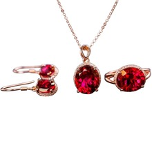 wholesale new-design classic 925 sterling silver natural red topaz earring necklace pendant ring jewelry set for women недорого