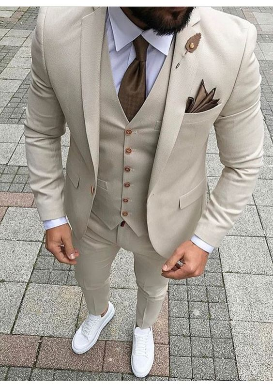 2017 Latest Coat Pant Designs Ivory Beige Men Suit Prom Tuxedo Slim Fit 3 Piece Groom Style Suits Custom Blazer Terno Masuclino