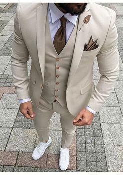 2017 último abrigo pantalones diseños BEIGE Marfil traje de hombre esmoquin de graduación ajustado Fit 3 piezas trajes de estilo de novio chaqueta personalizada Terno Masuclino