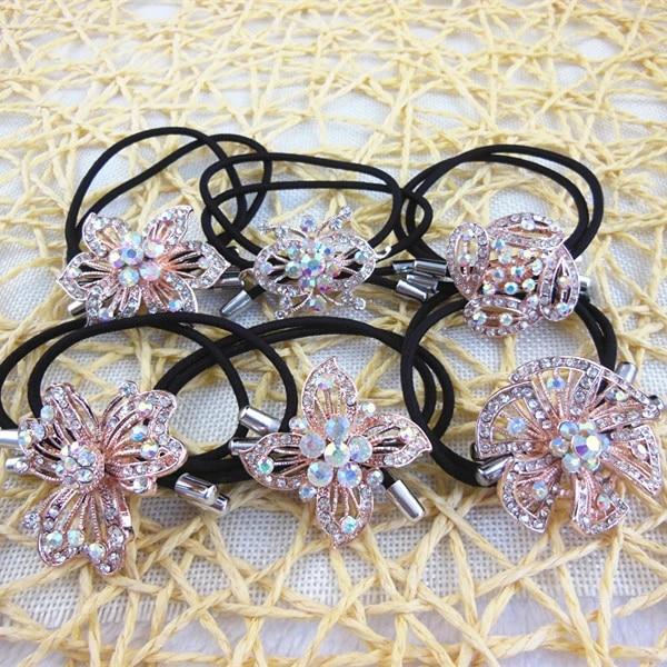 Shiny Rhinestone Crystal Elastic Ponytail Holder Hair Rope Tie Hair Band